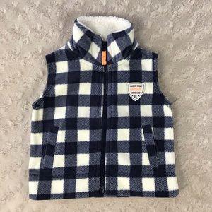 Carter's Fleece Vest Blue White Plaid Check Orange